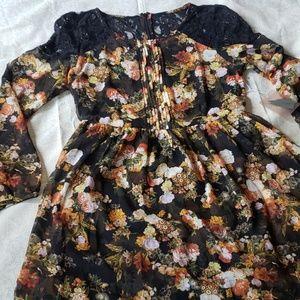 Floral Chiffon & Lace Dress
